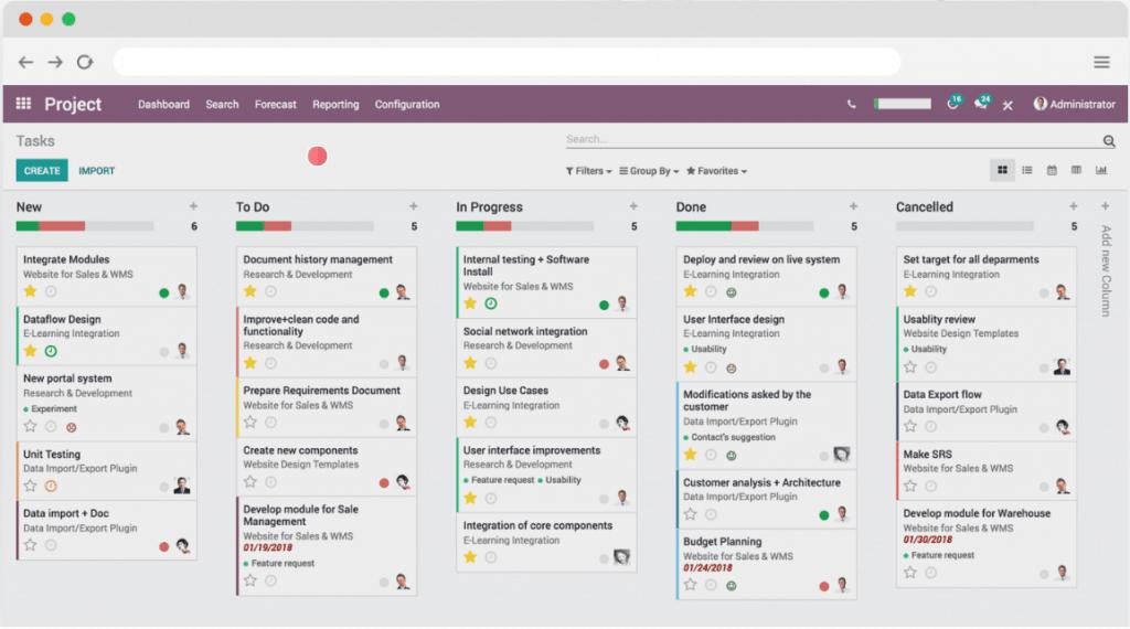 Phần mềm odoo quản lý dự án